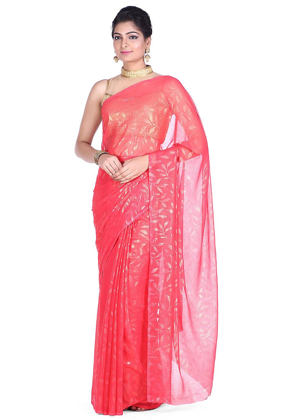Printed Chiffon Saree in Old Rose