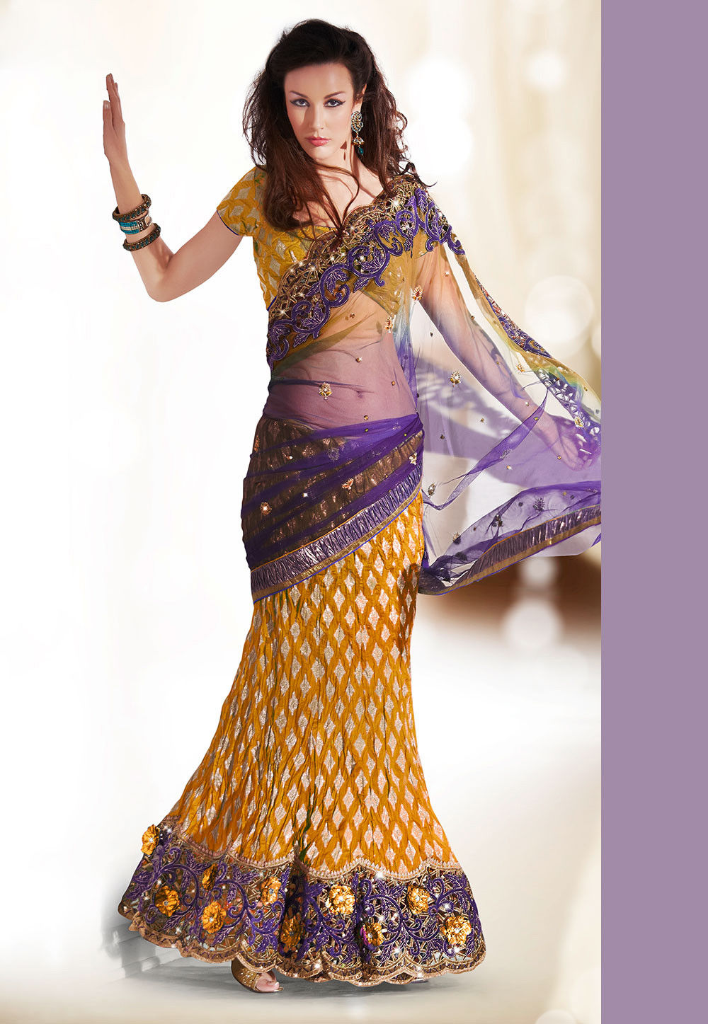 Lehenga Style Saree in Purple and Mustard