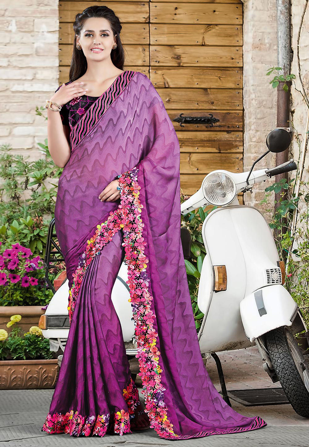 Printed Georgette Satin Saree in Magenta