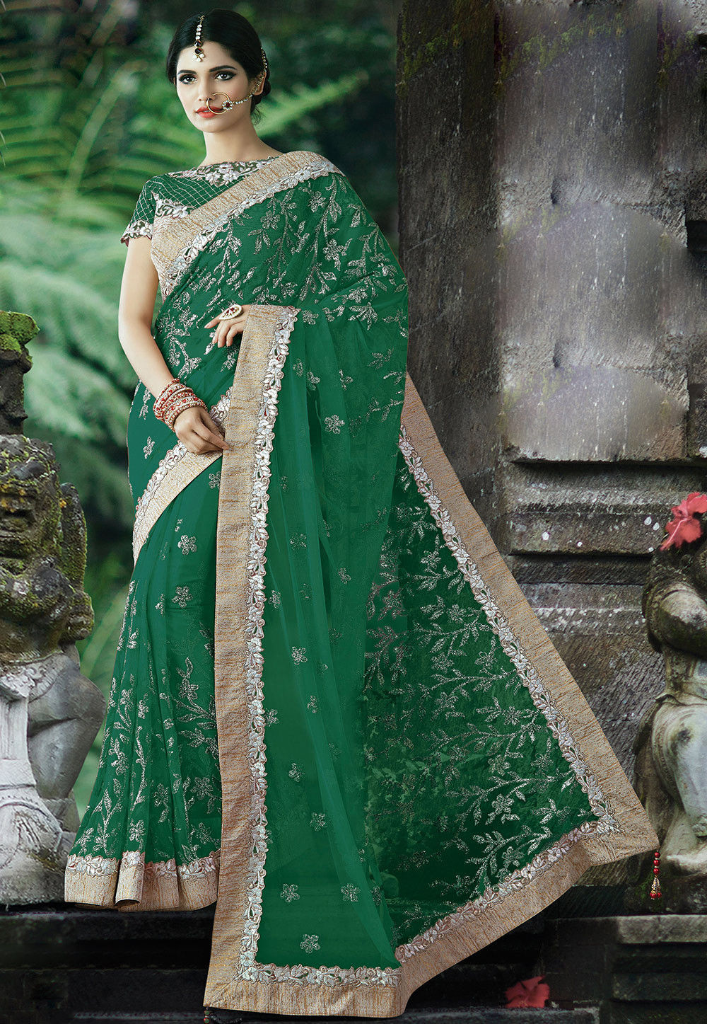 Embroidered Net Saree in Green
