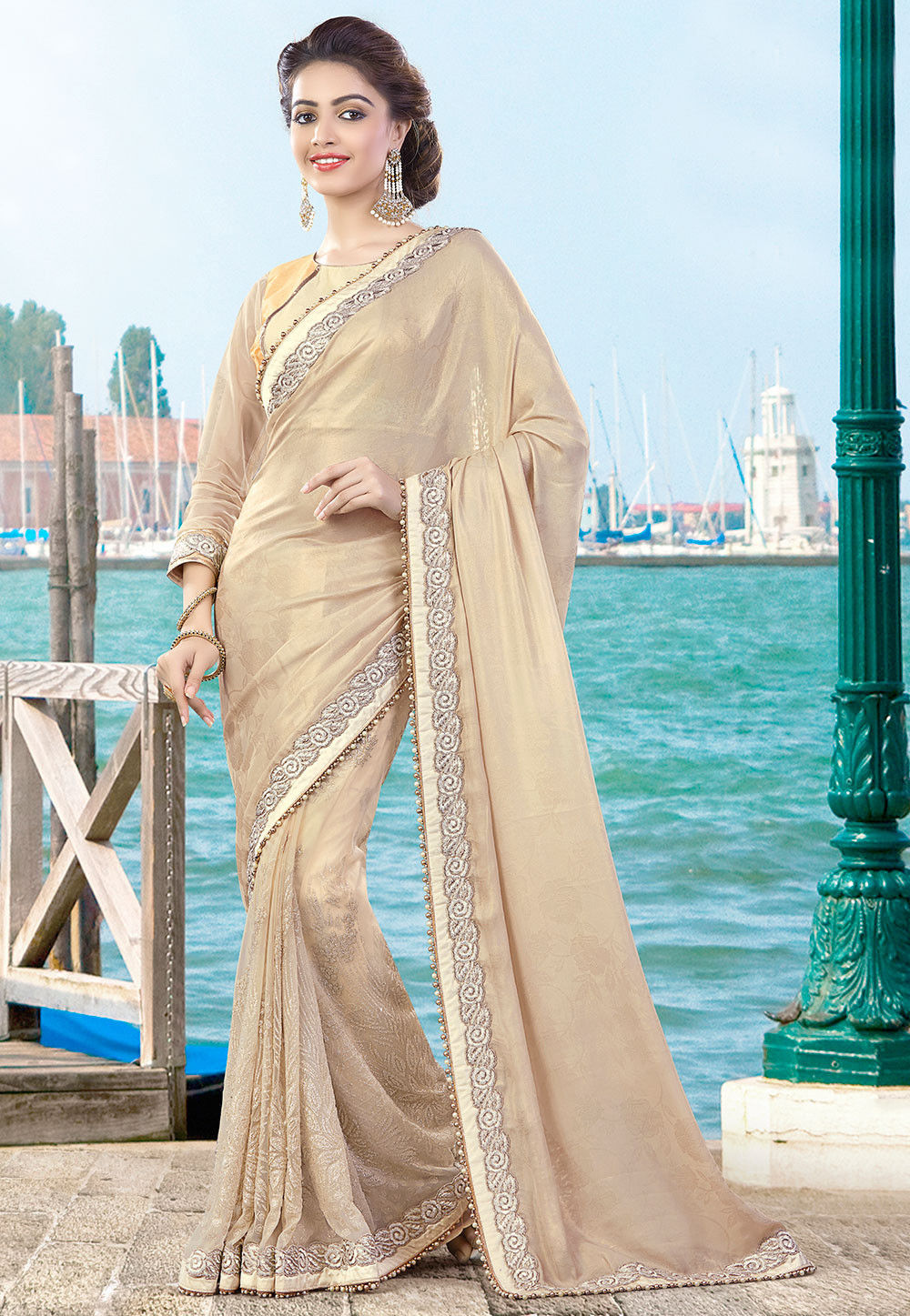 Embroidered Georgette Satin Jacquard Saree in Beige