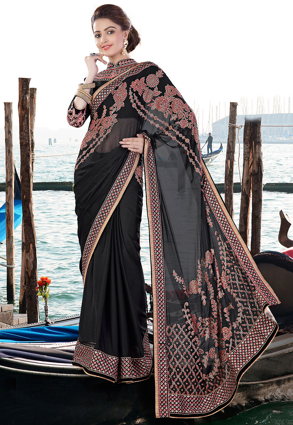 Embroidered Georgette Satin Saree in Black