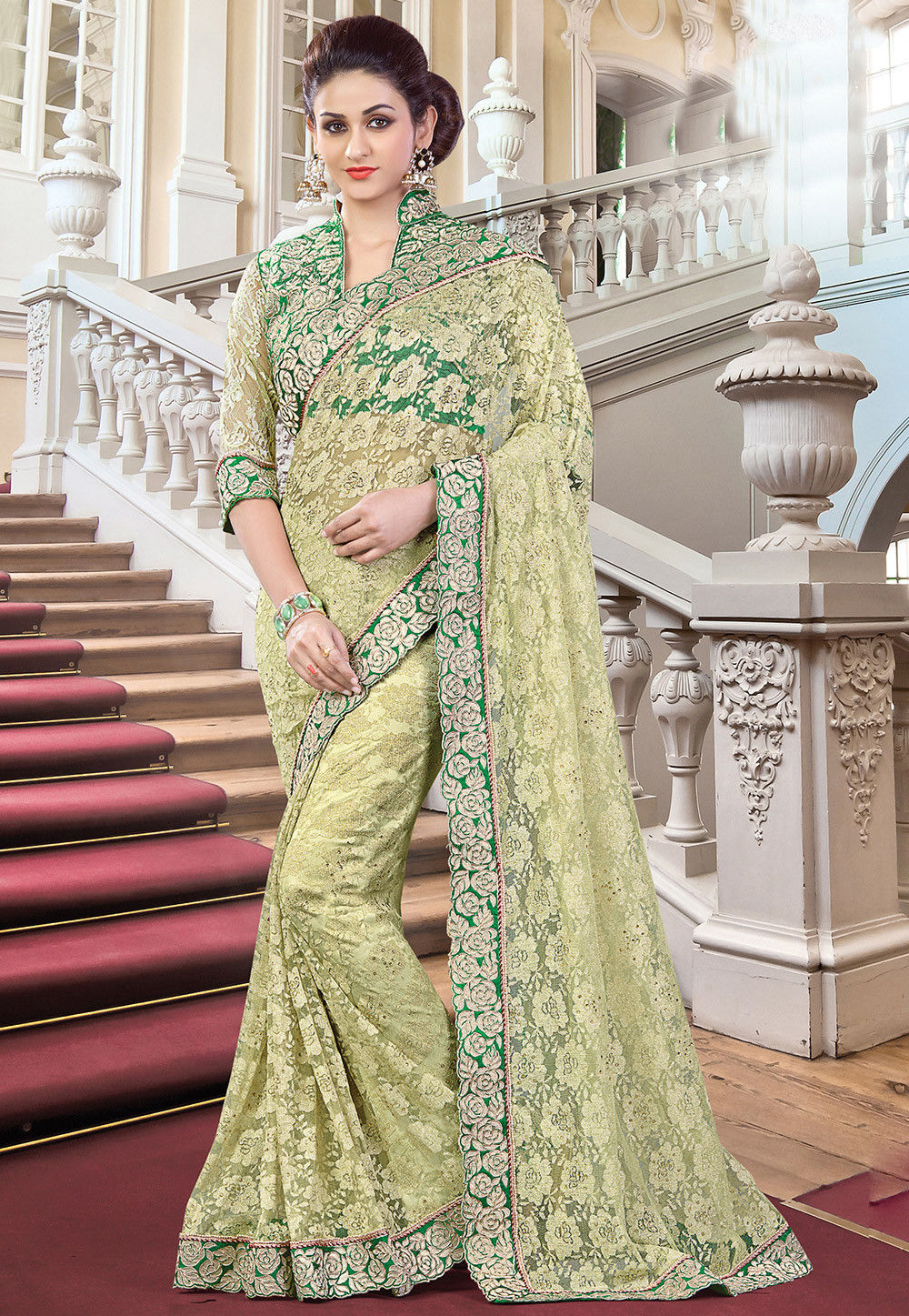 Net Jacquard Saree in Pastel Green
