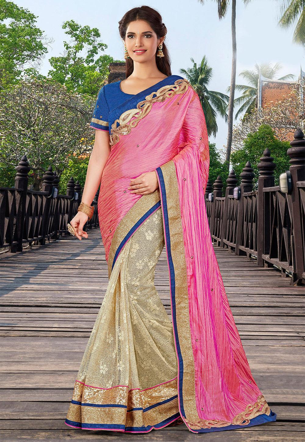 Half N Half Art Silk Saree in Pink and Beige