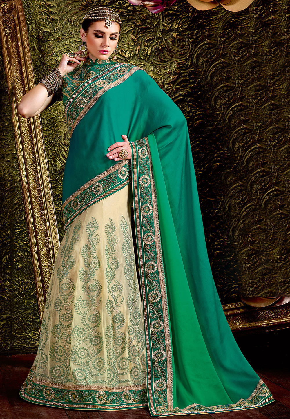 Lehenga Style Satin Georgette Saree In Green Ombre And Cream Sws5318