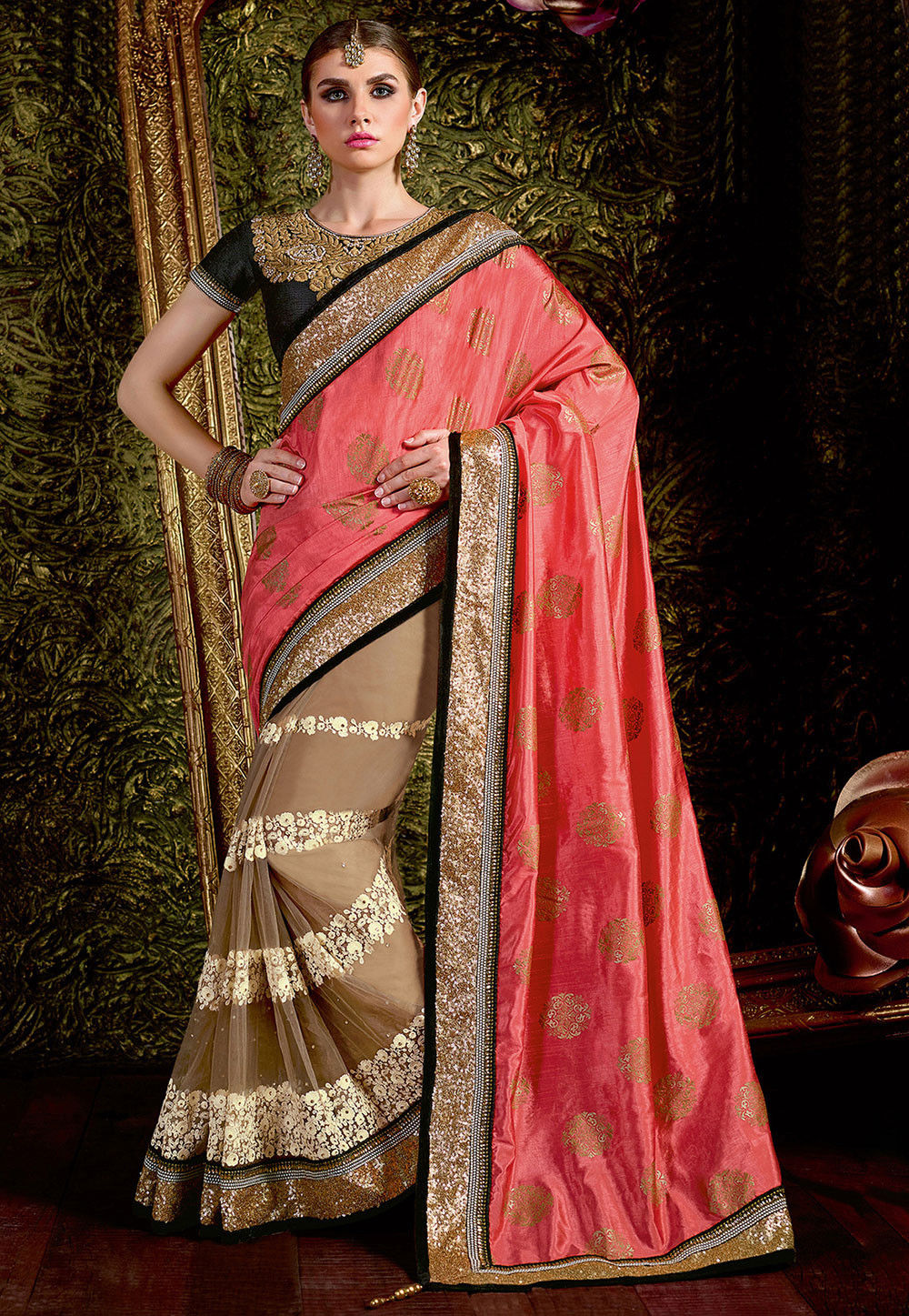 Half N Half Art Silk and Net Saree in Coral and Beige