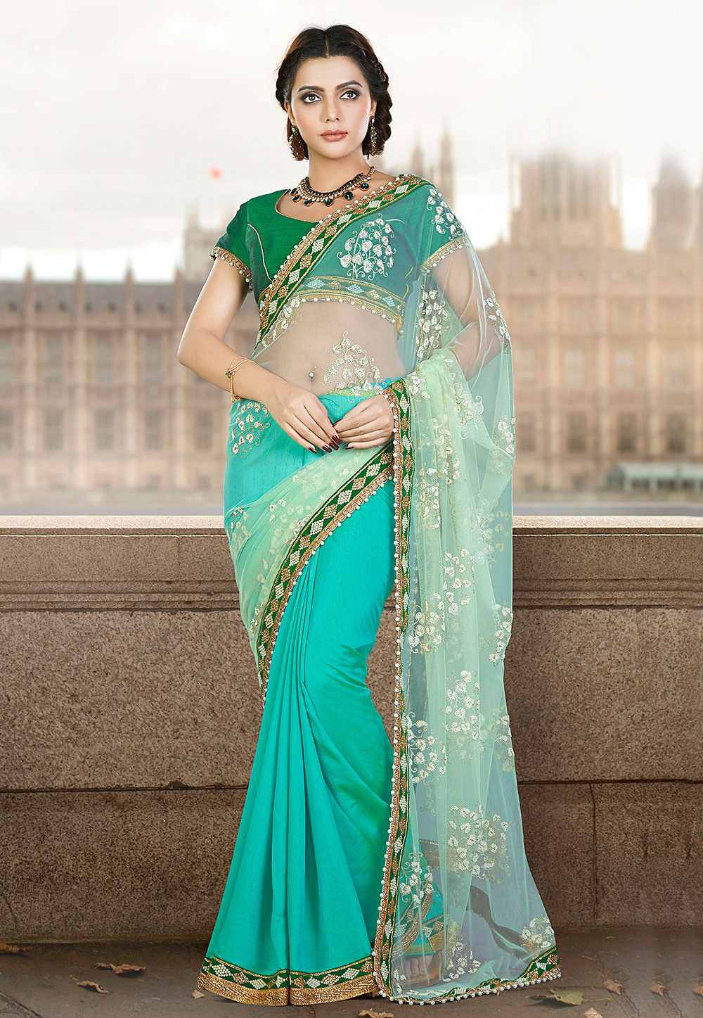 Half N Half Net Saree in Green and Turquoise