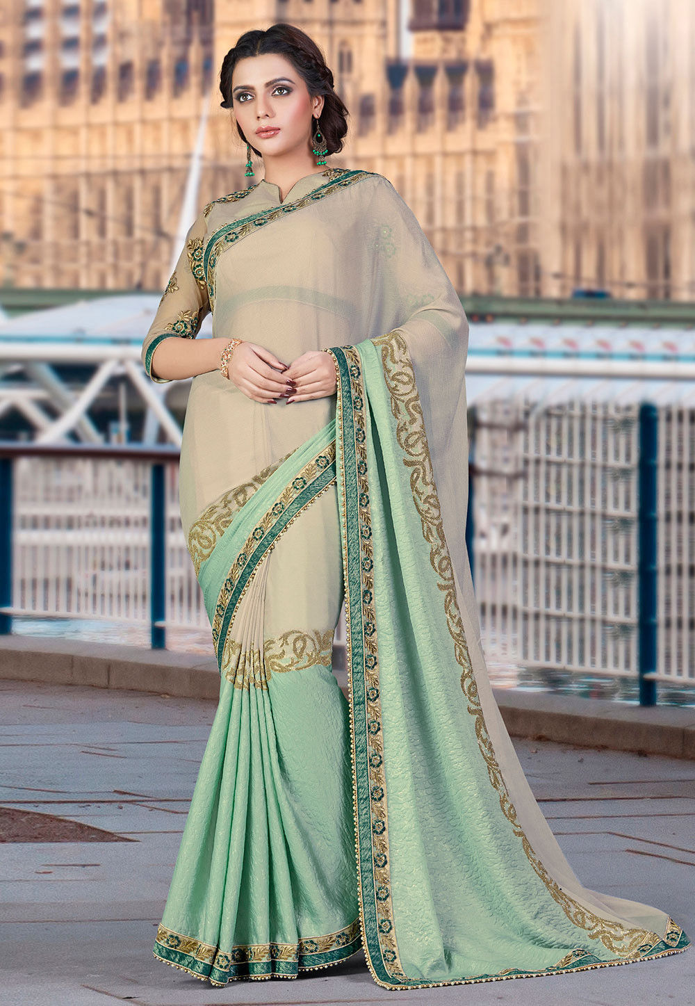 Embroidered Chiffon Saree in Beige and Light Green