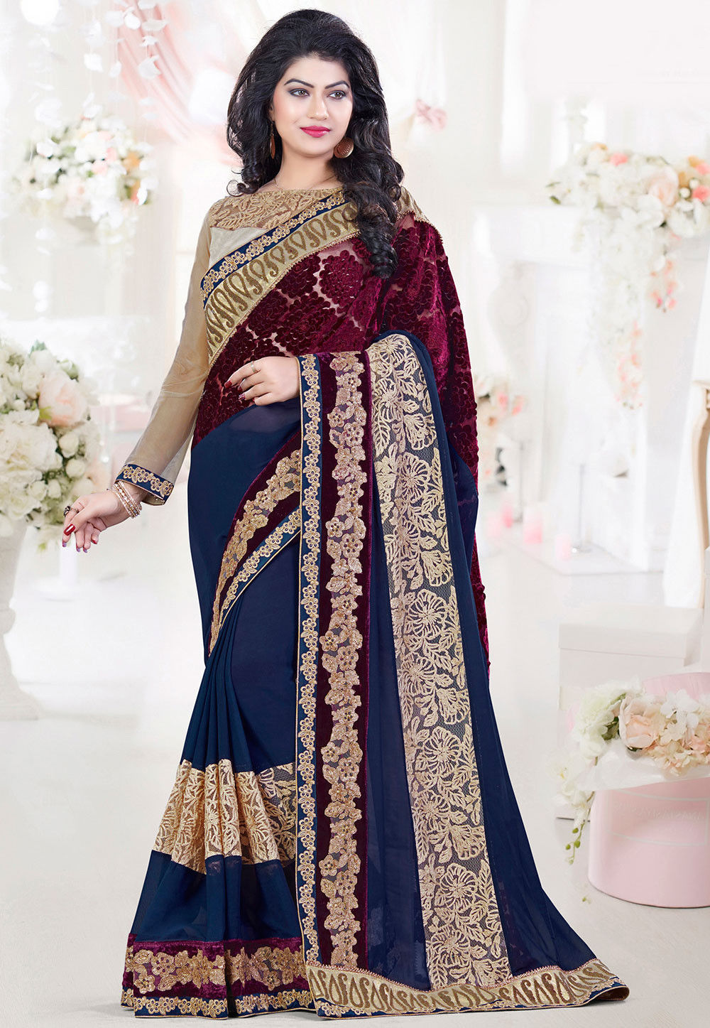 Embroidered Georgette Saree in Navy Blue and Wine