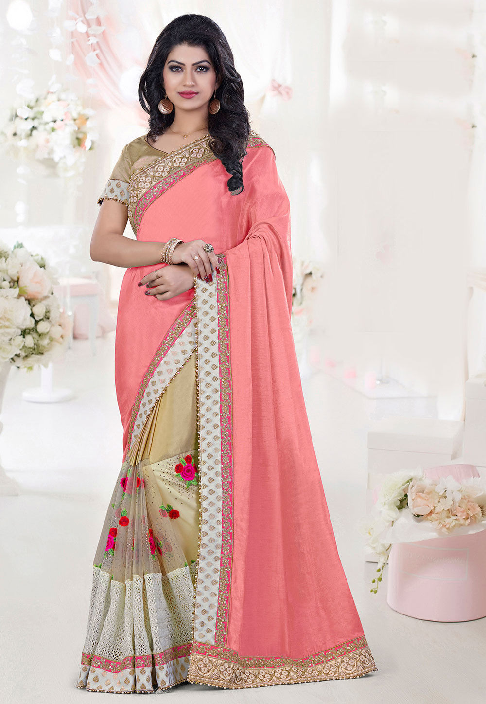 Half N Half Art Silk Saree in Peach and Beige