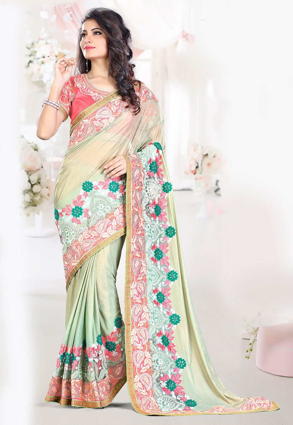 Embroidered Lycra Shimmer Saree in Pastel Green