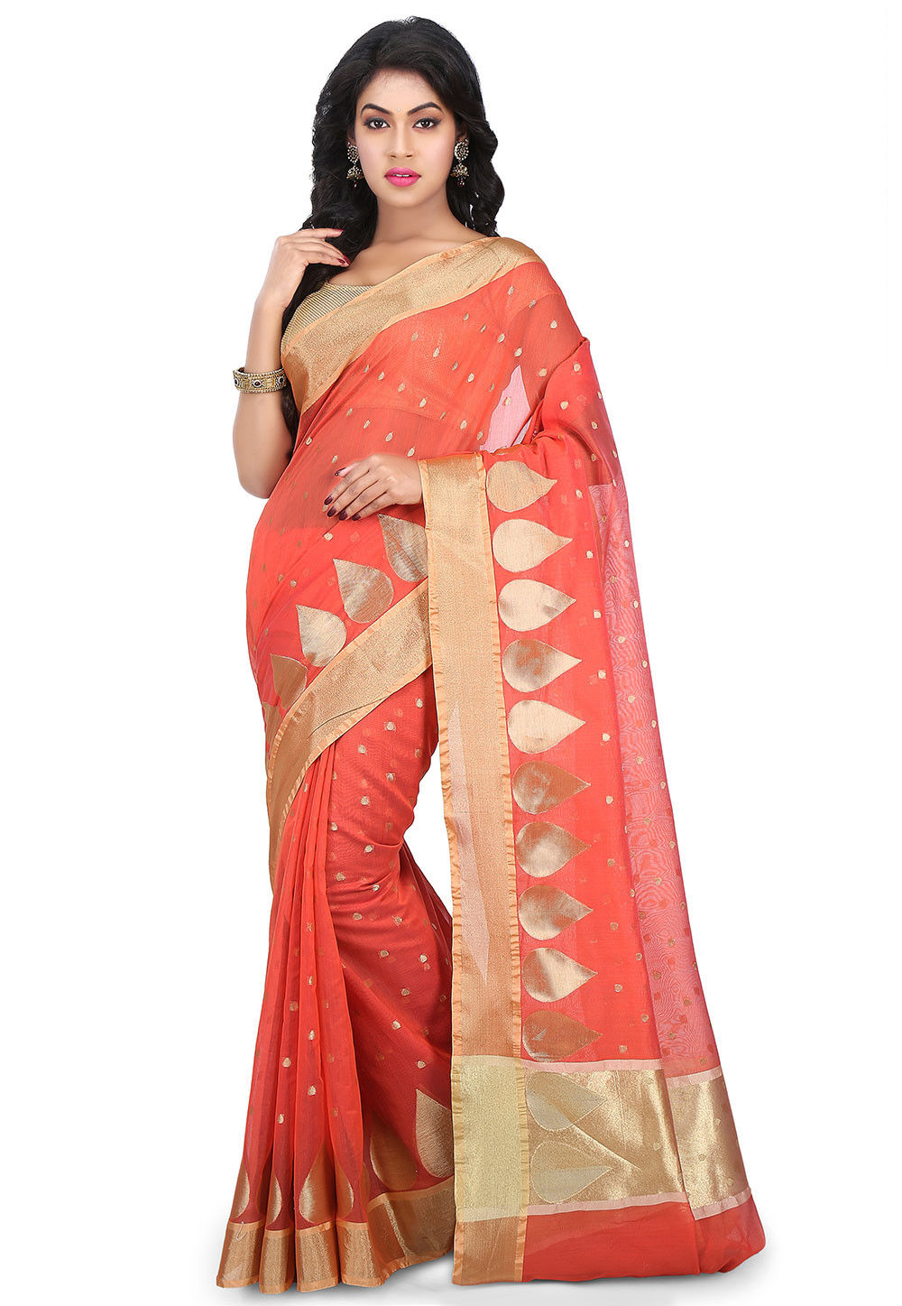 Woven Chanderi Silk Saree in Coral Red