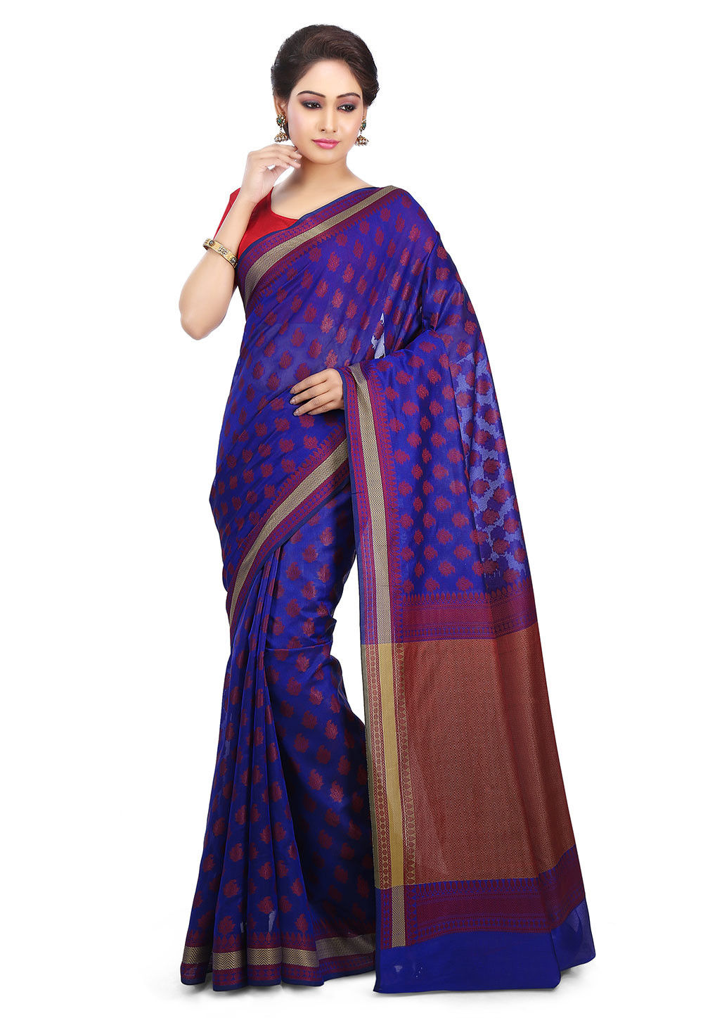 Woven Art Silk Saree in Royal Blue