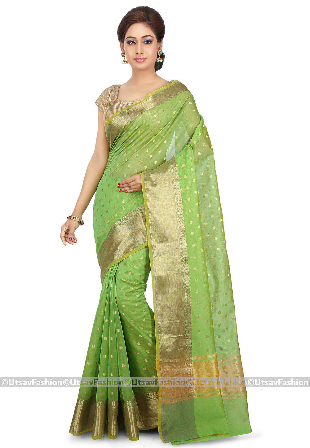 Woven Cotton Silk Saree in Light Green