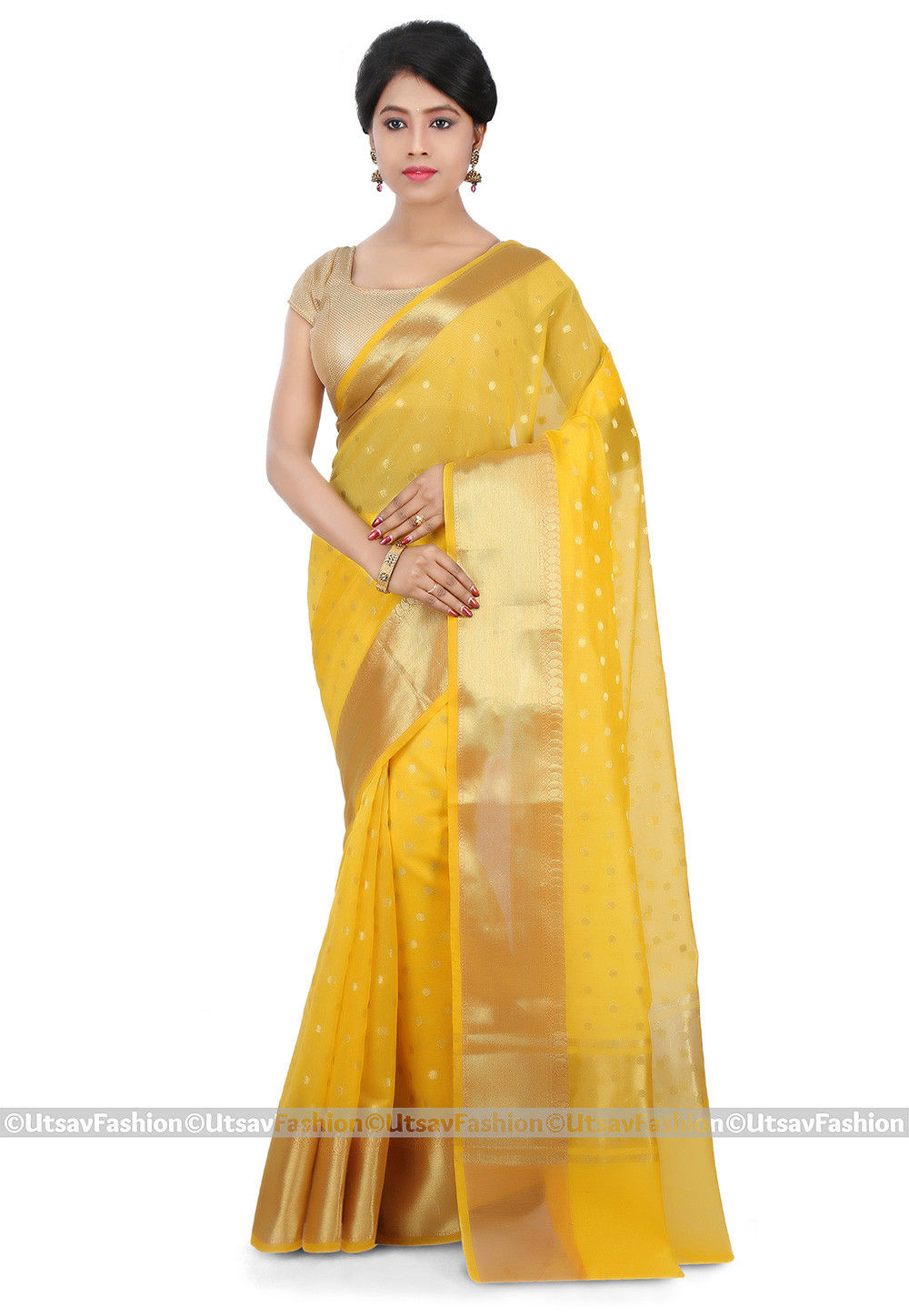 Woven Cotton Silk Saree in Yellow
