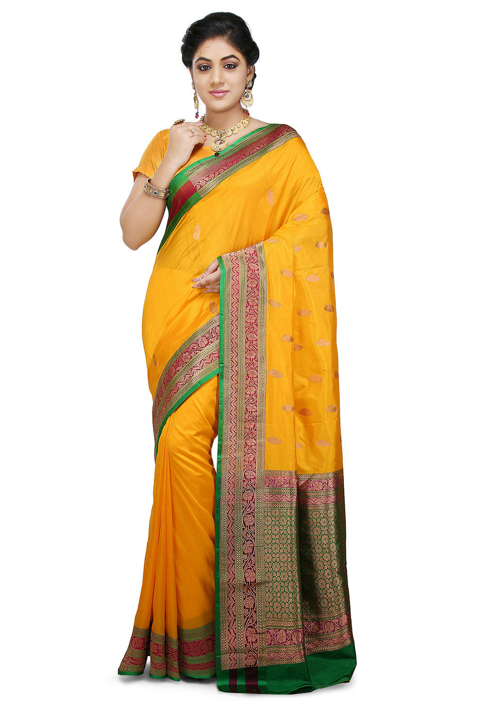 Banarasi Pure Katan Silk Handloom Saree in Yellow