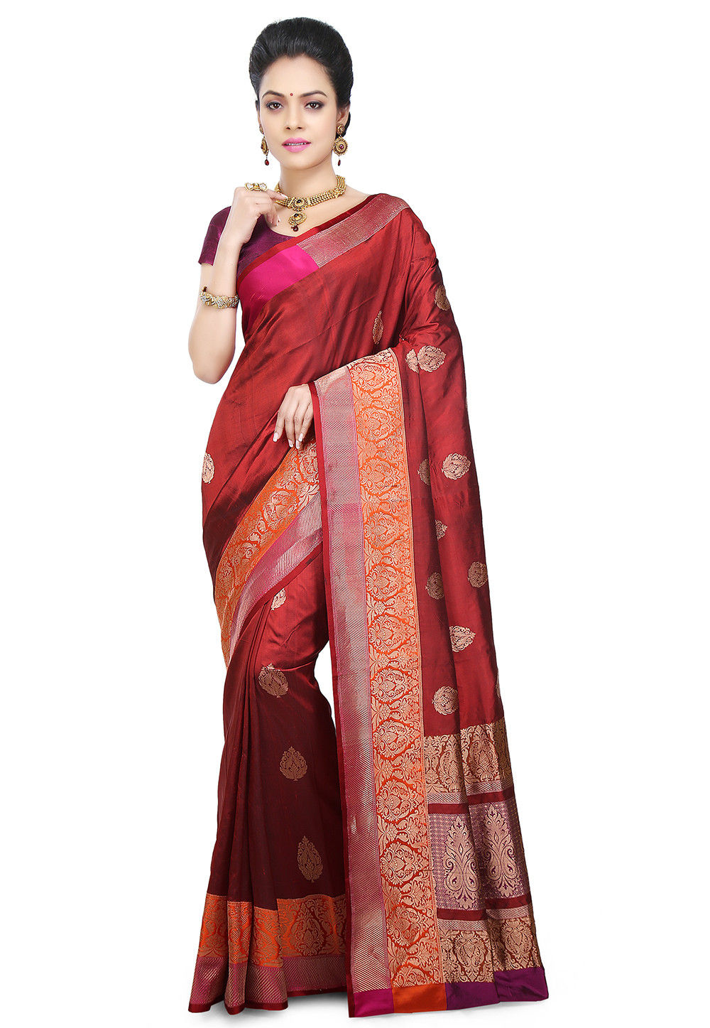 Banarasi Pure Katan Silk Handloom Saree in Maroon