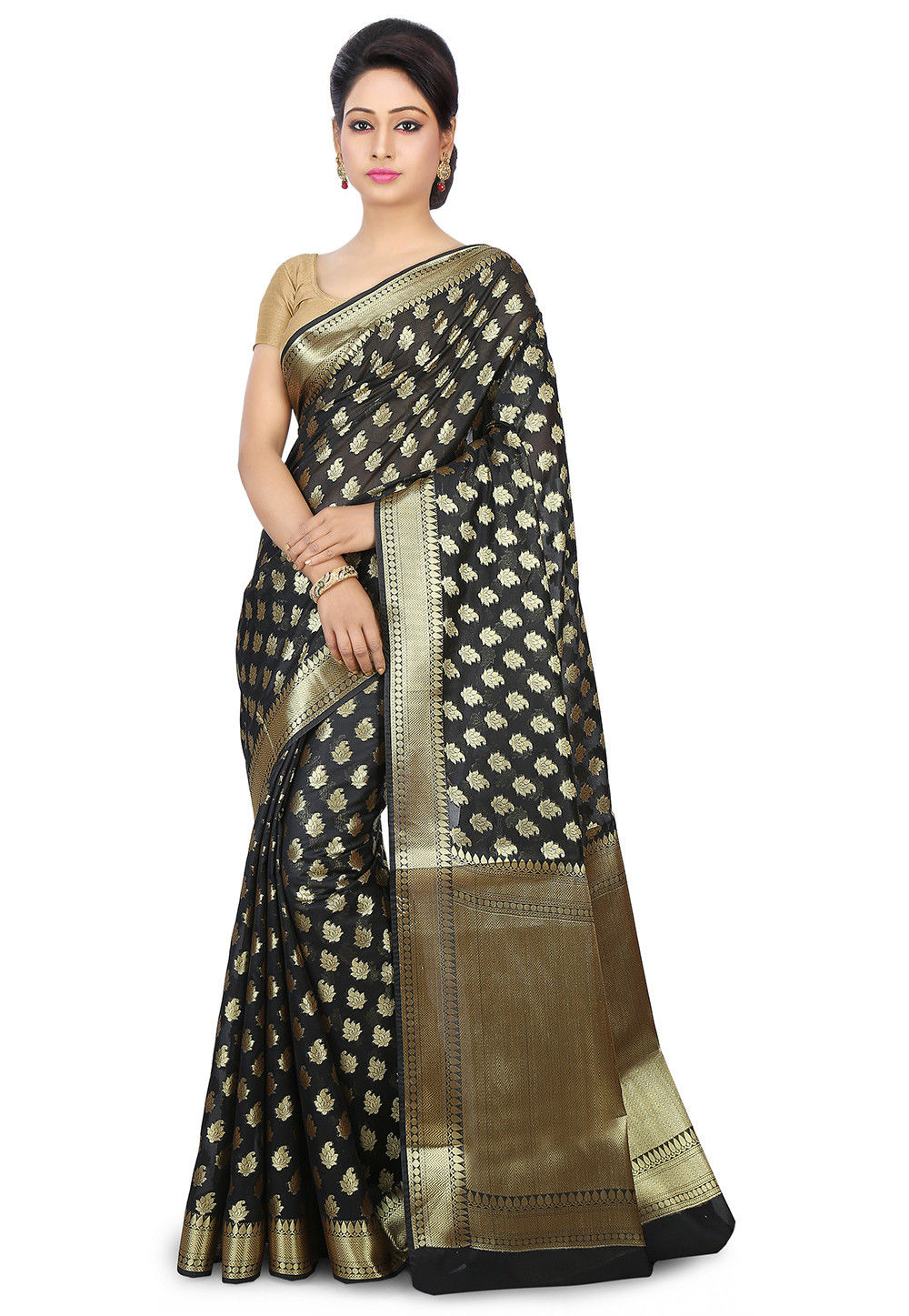 Woven Chanderi Silk Saree in Black