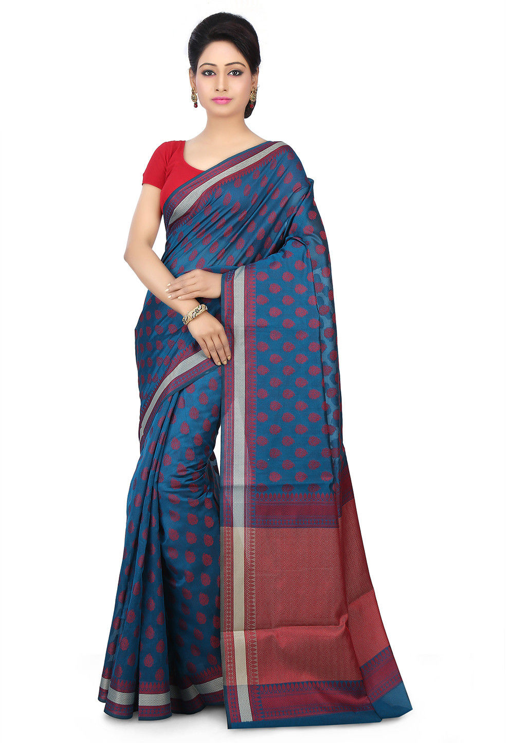 Woven Chanderi Silk Saree in Teal Blue