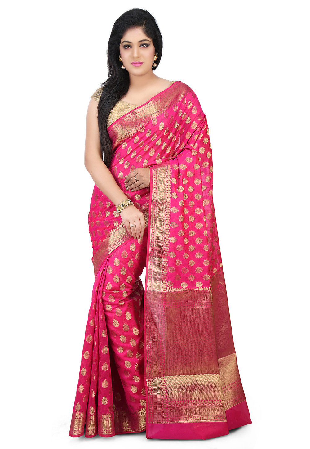 Woven Chanderi Silk Saree in Fuchsia