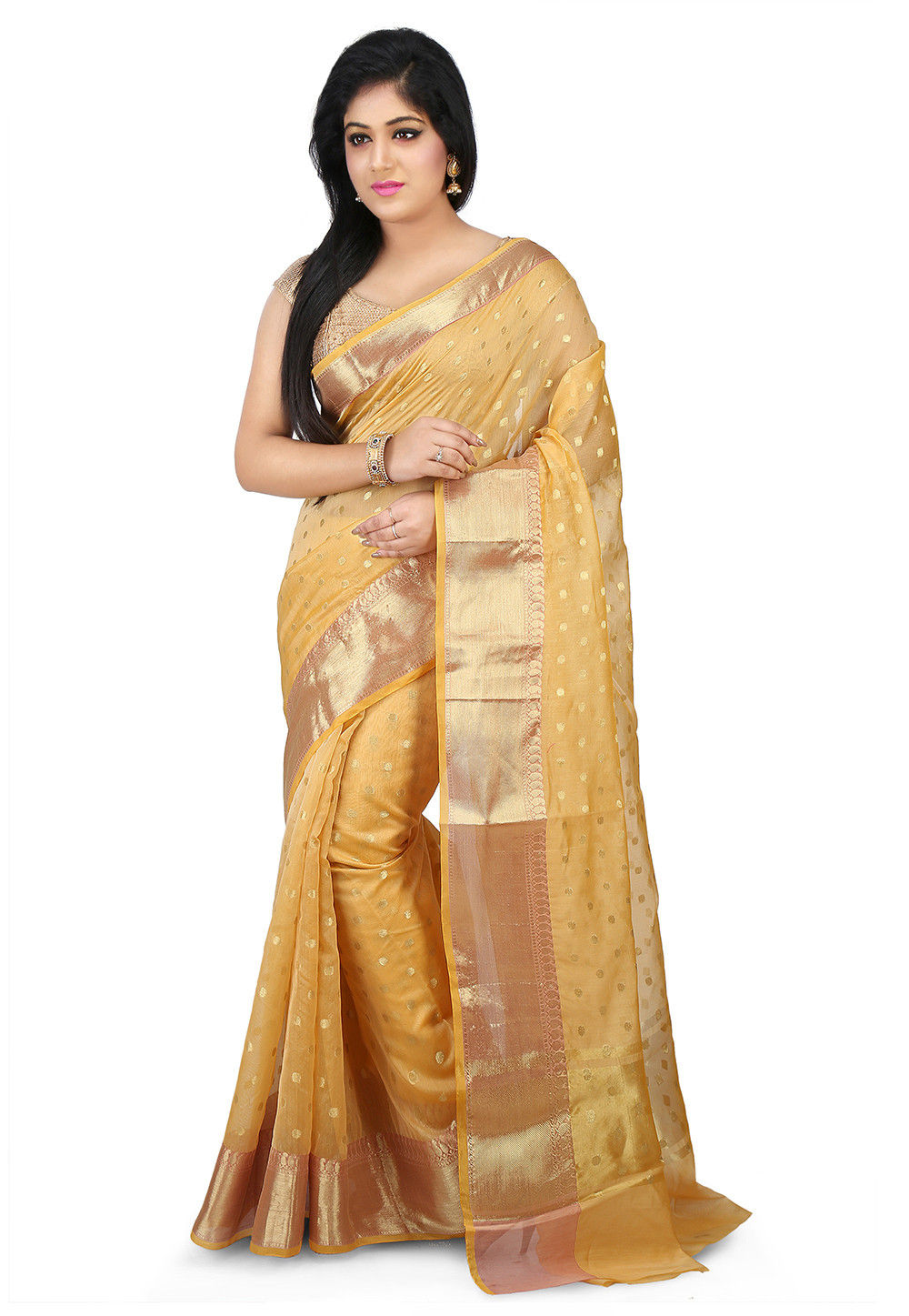 Woven Chanderi Silk Saree in Light Yellow
