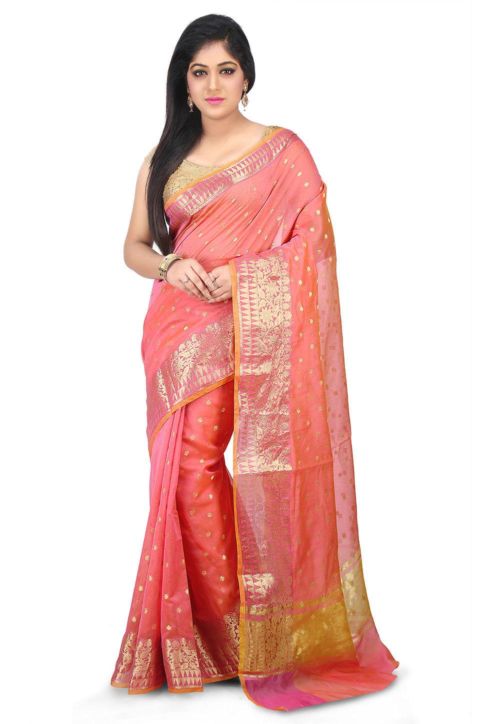 Woven Chanderi Silk Saree in Peach