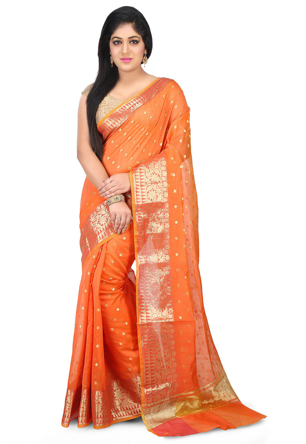 Woven Chanderi Silk Saree in Orange