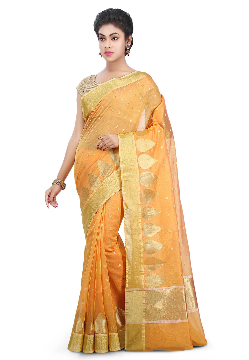 Woven Chanderi Silk Saree in Mustard