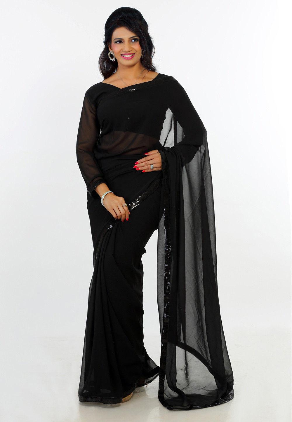 Plain Georgette Saree in Black