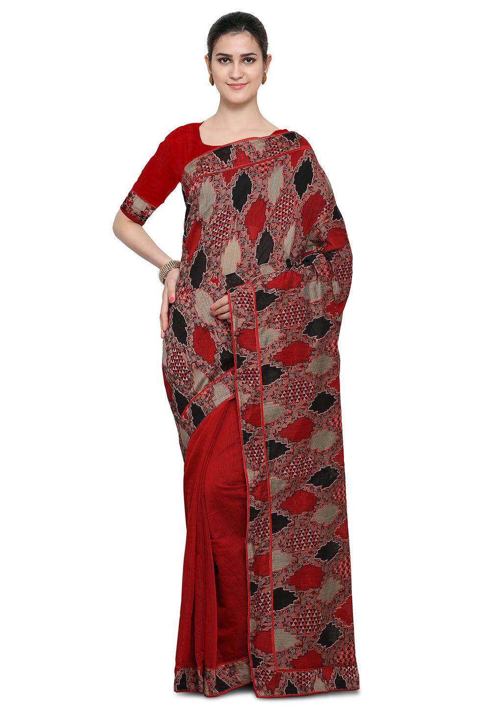 Half N Half Chanderi Silk Saree in Red