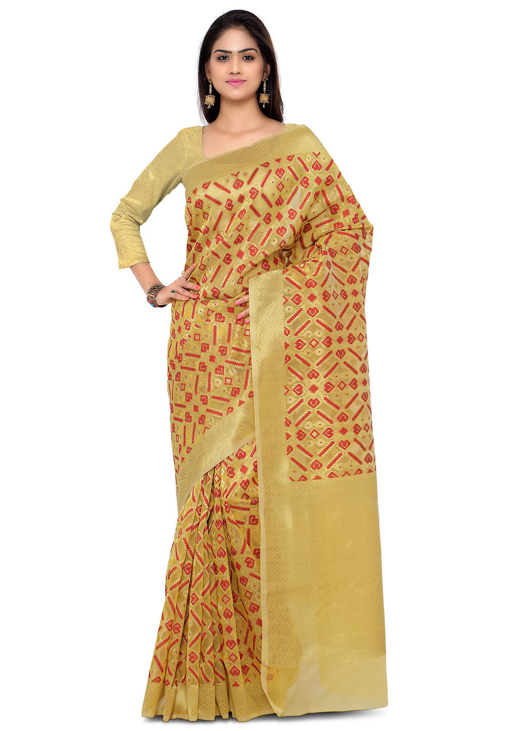 Woven Tissue Jacquard Saree in Golden