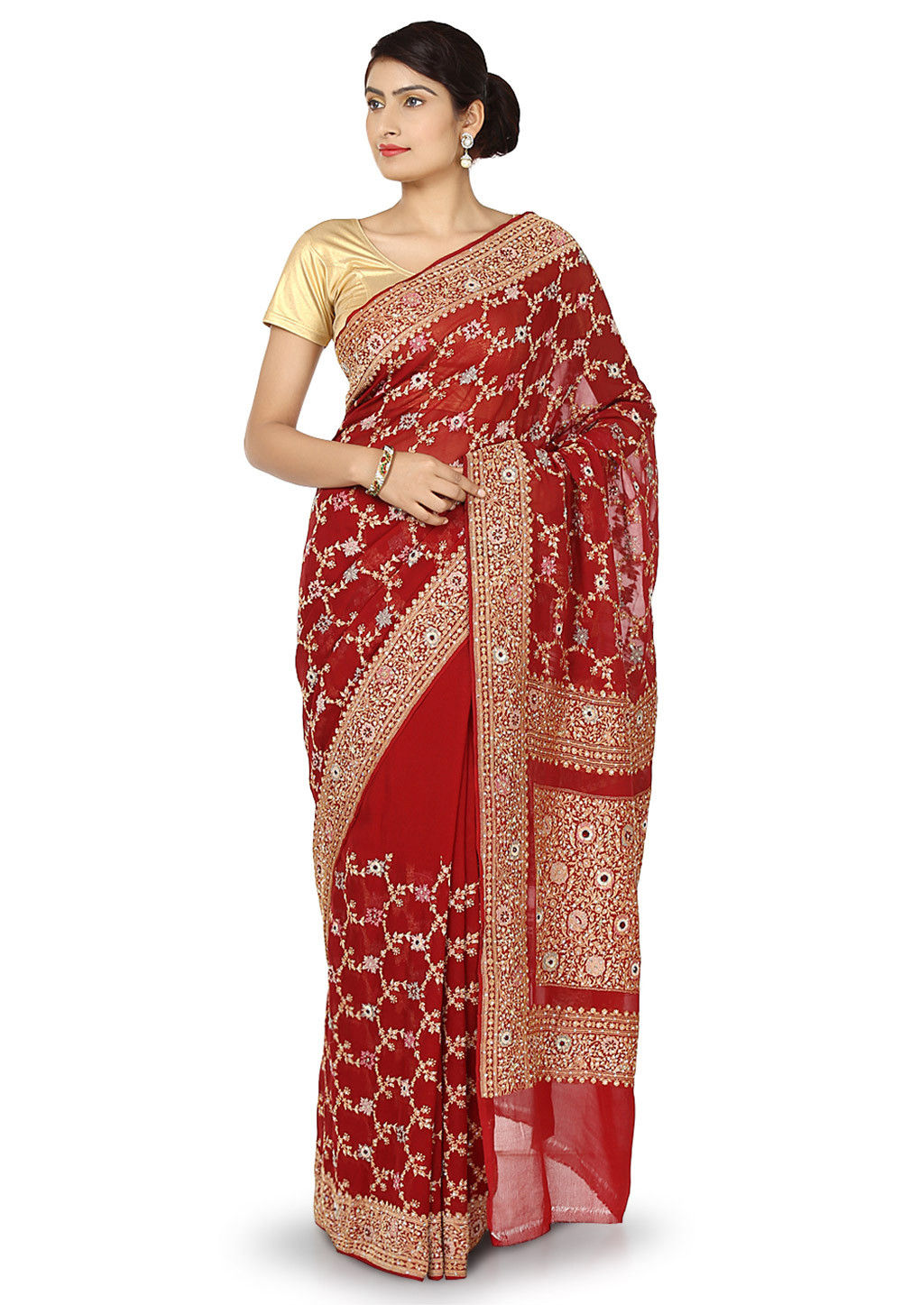 Handloom Pure Chiffon Saree in Maroon