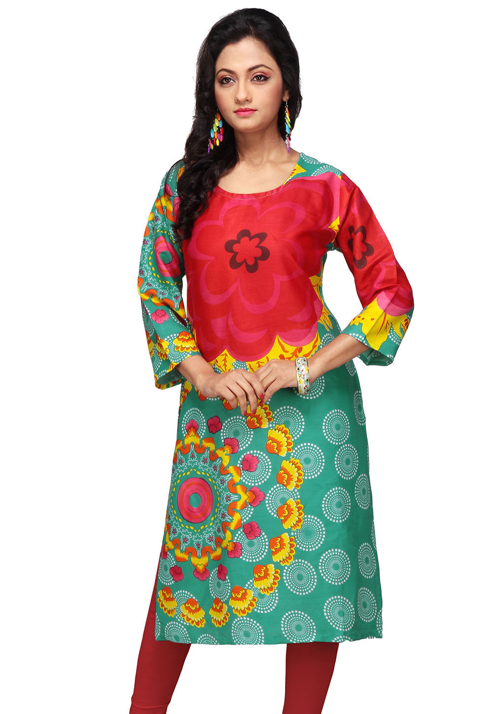 Printed Rayon Long Kurta In Red and Teal Green
