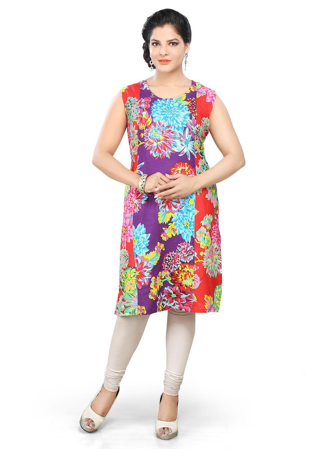 Printed Viscose Rayon Kurti In Multicolor