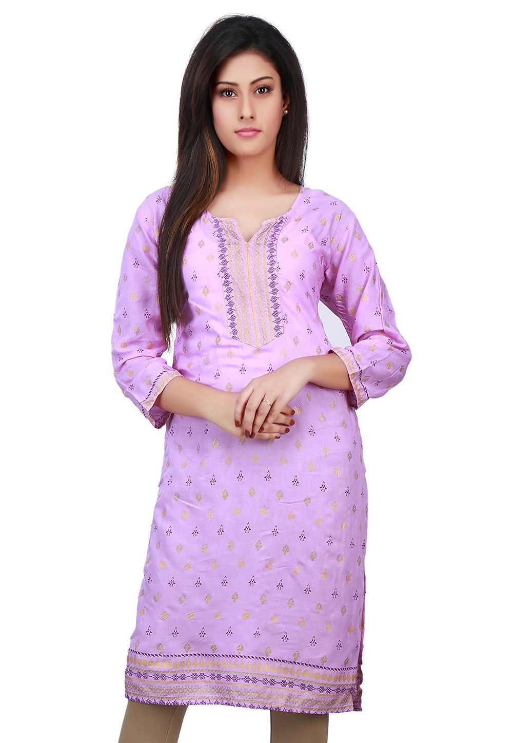 Printed Cotton Kurta in Purple