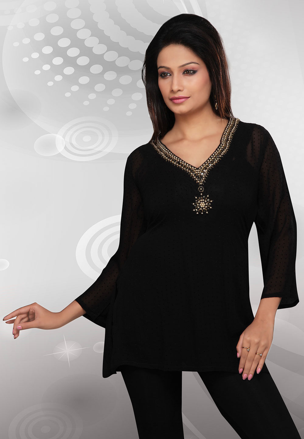 Embroidered Poly Georgette Tunic In Black