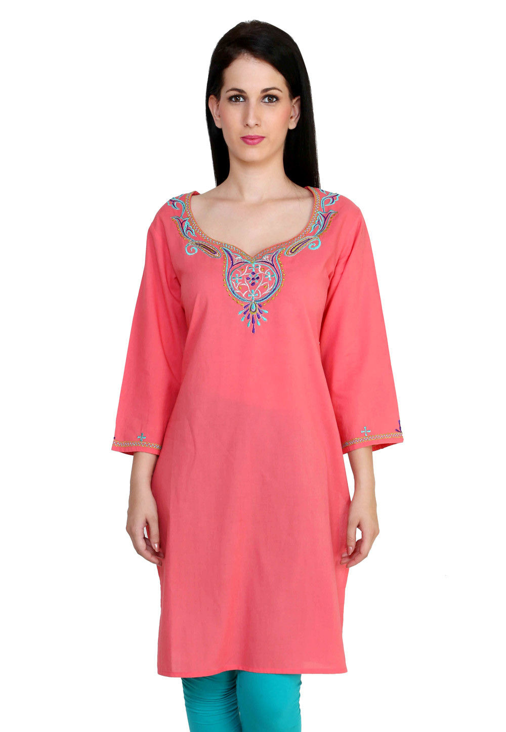 Embroidered Cotton Kurti In Old Rose