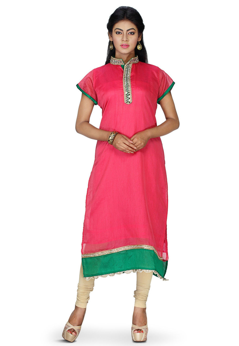 Plain Chanderi Silk Kurta in Pink