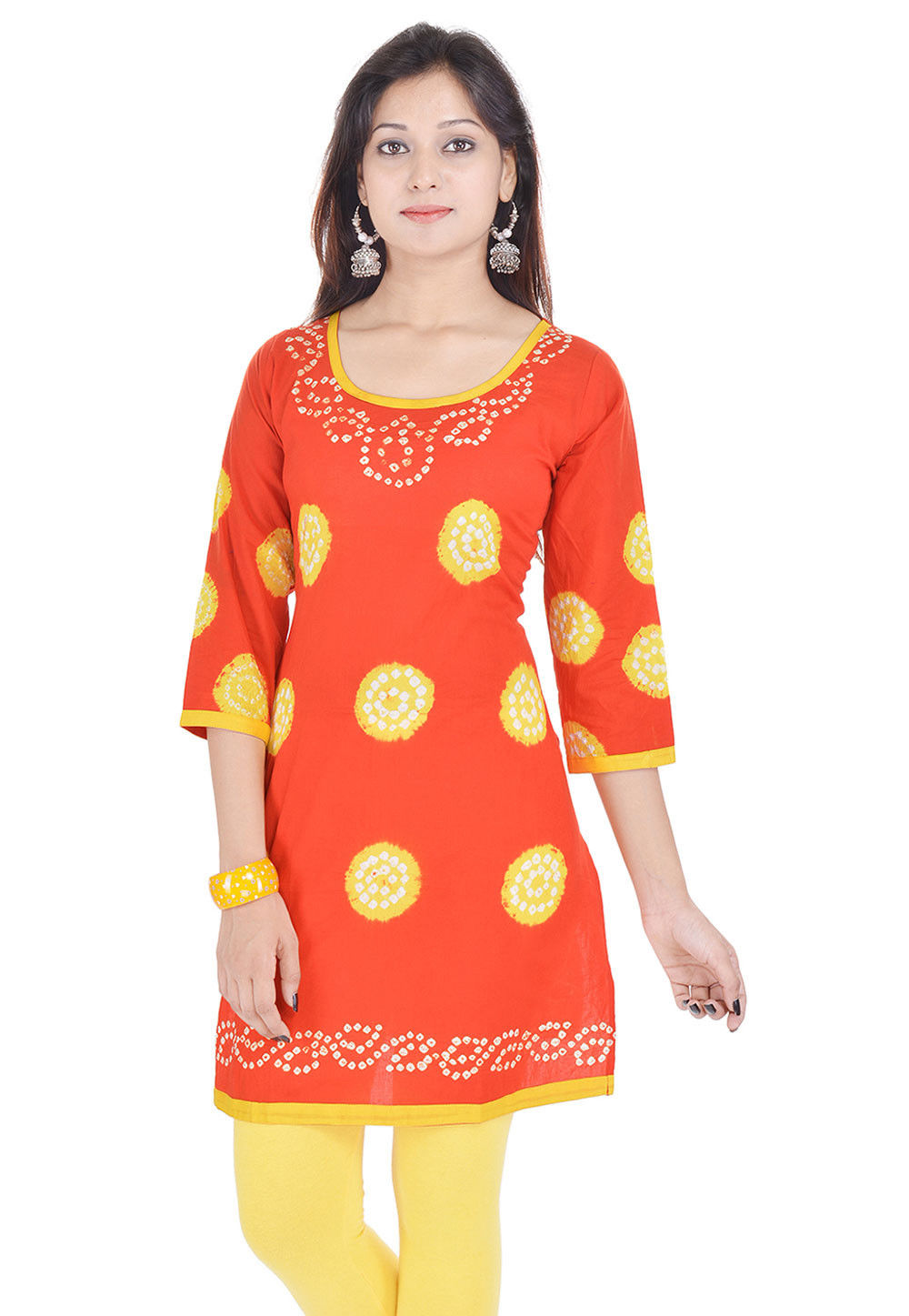 Printed Cotton Kurti in Orange