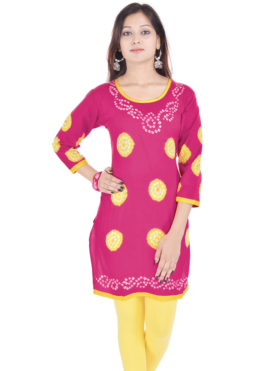 Printed Cotton Readymade Kurti in Fuchsia