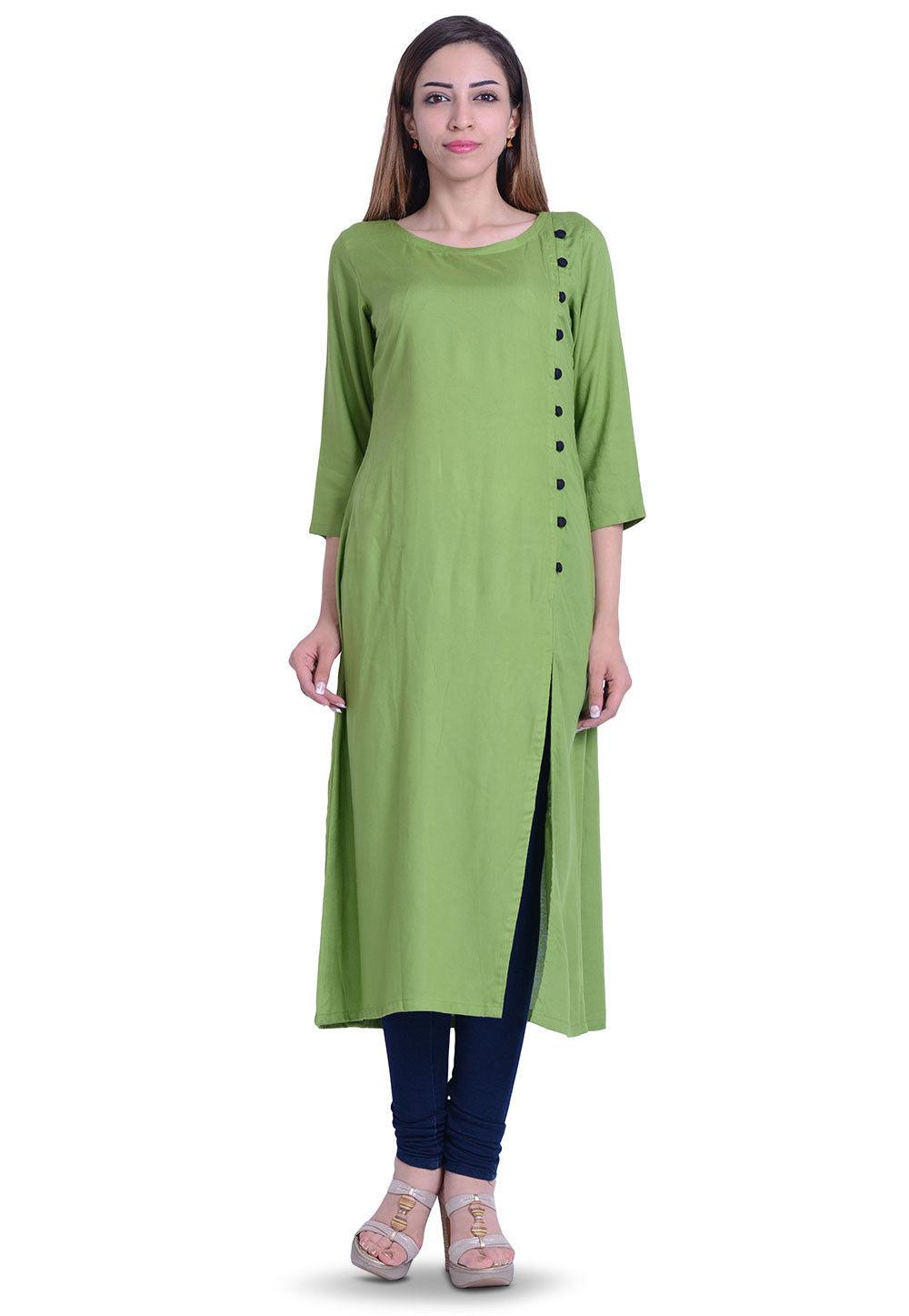Plain Rayon Long Kurta in Green