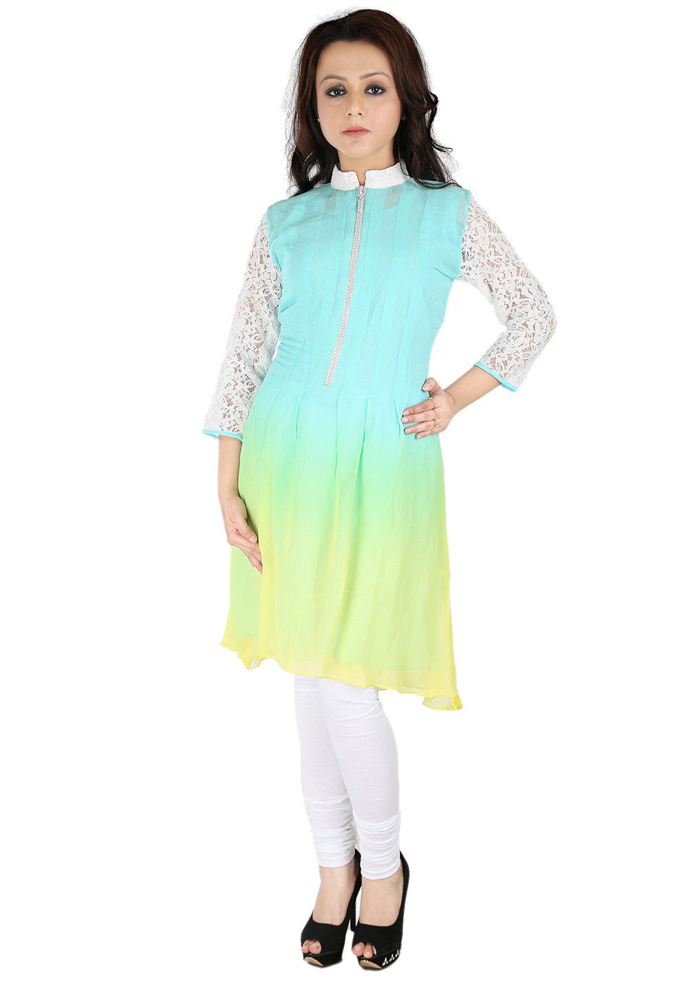 Shaded Georgette Tunic In Turquoise and White