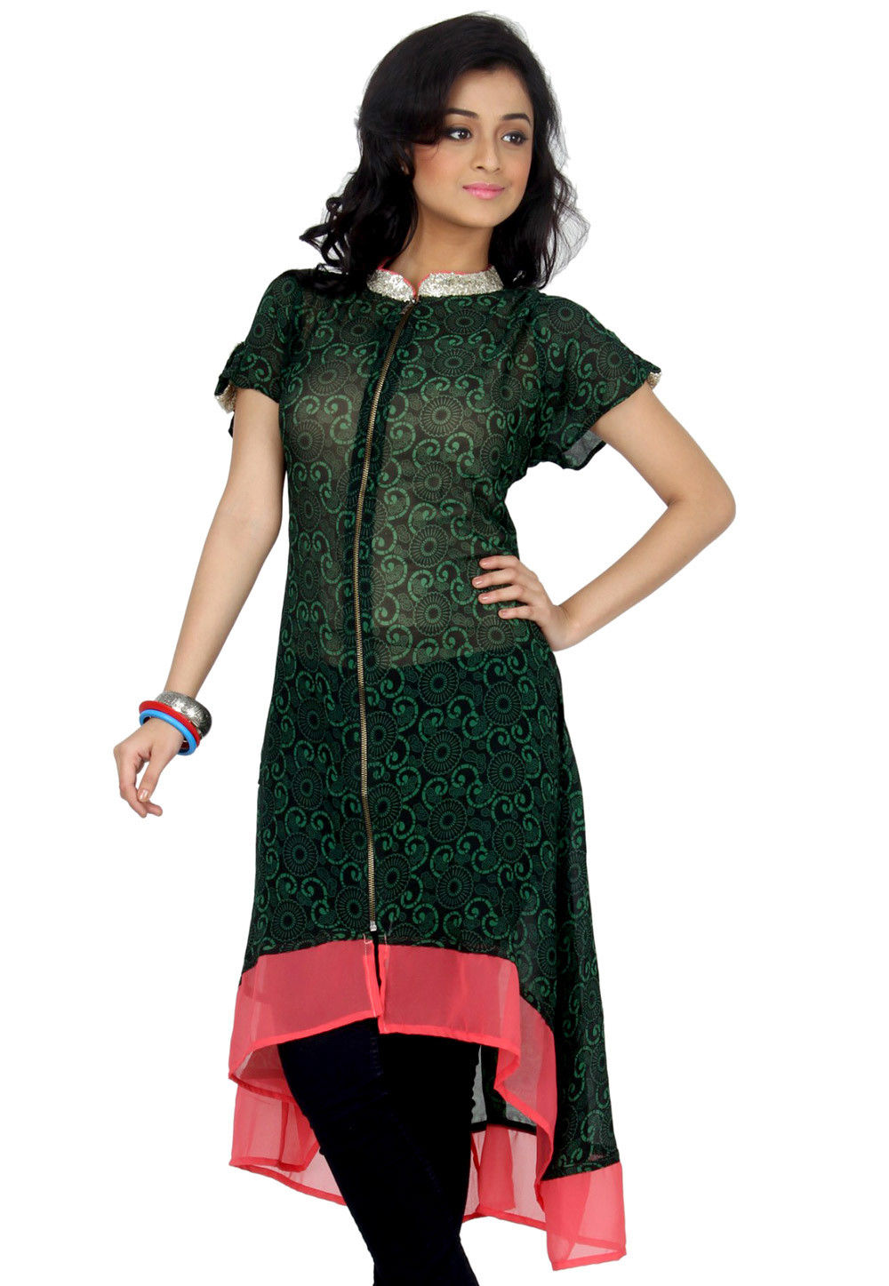 Printed Georgette Asymmetrical Tunic In Black