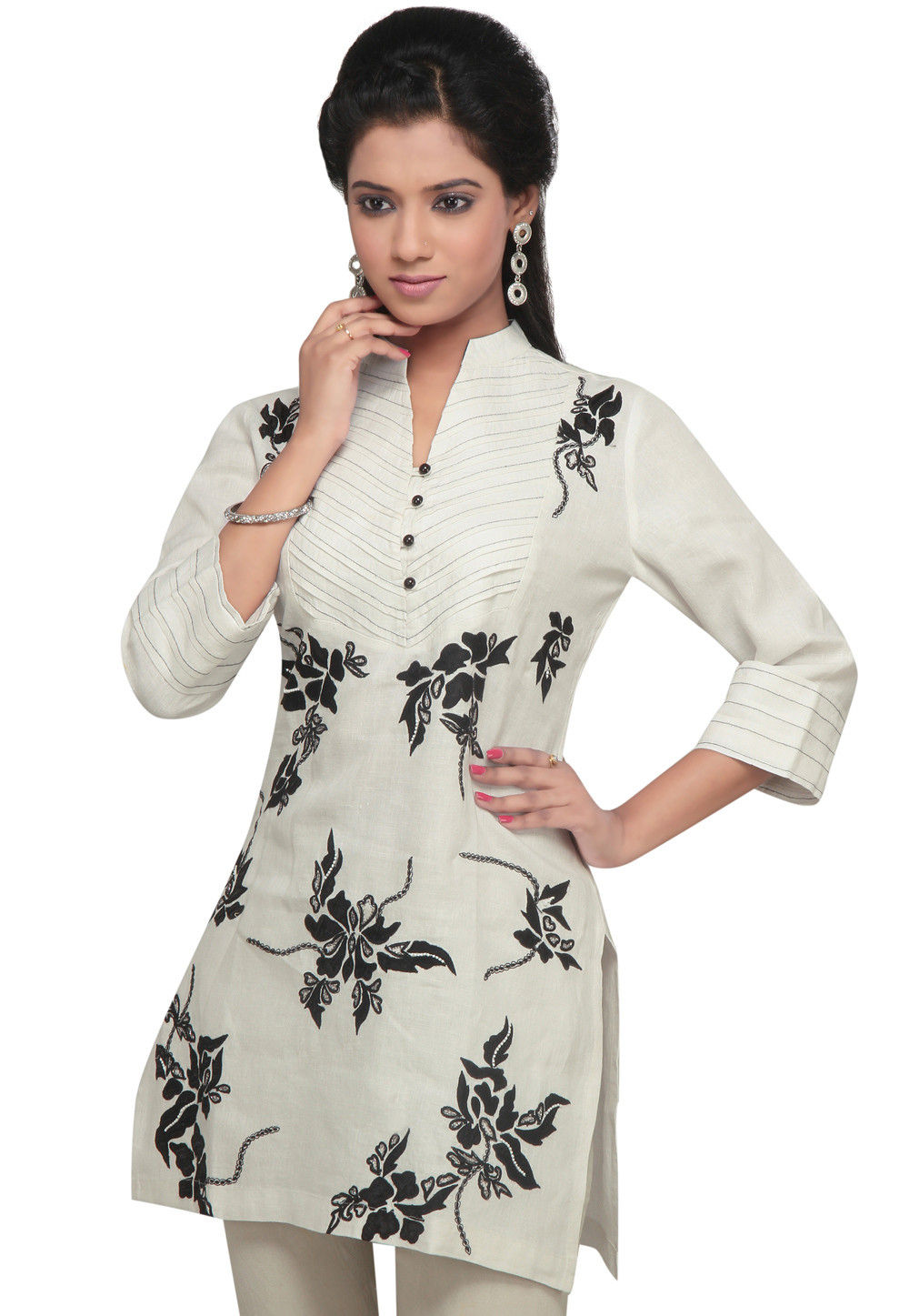 Embroidered Pure Linen Kurta In Off White