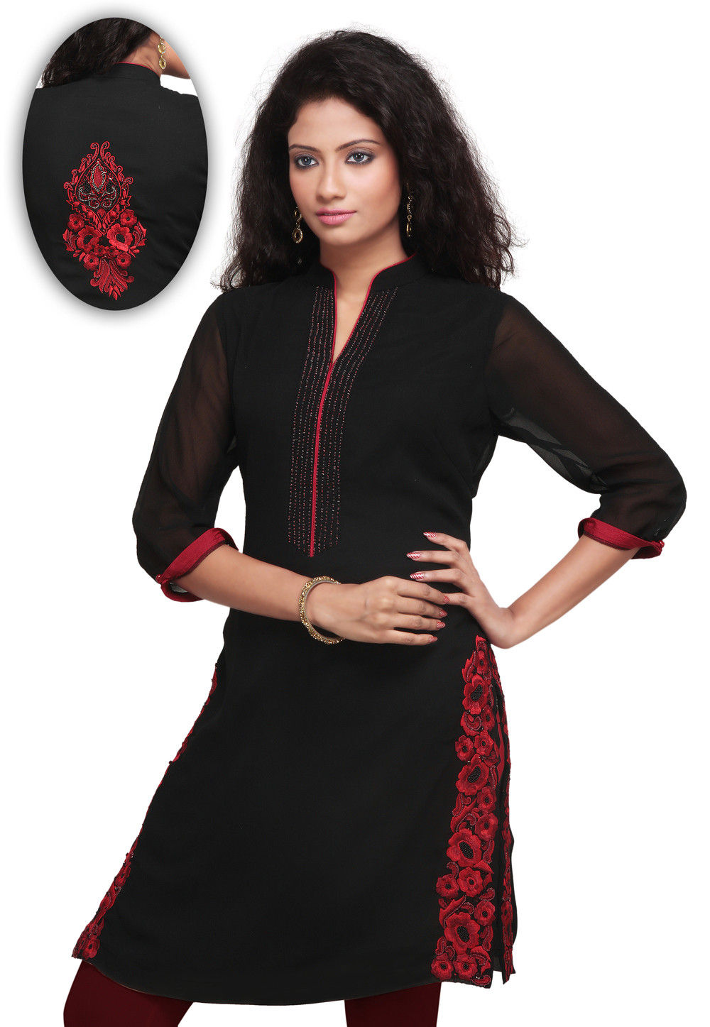 Embroidered Georgette Kurti In Black