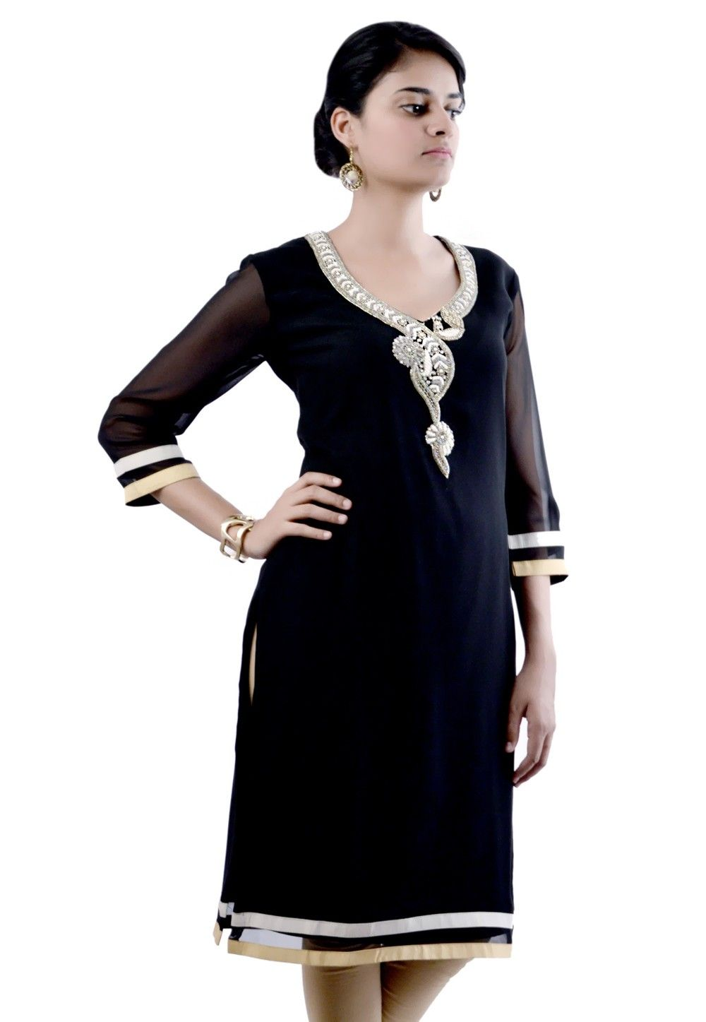 Embroidered Viscose Georgette Kurta in Black