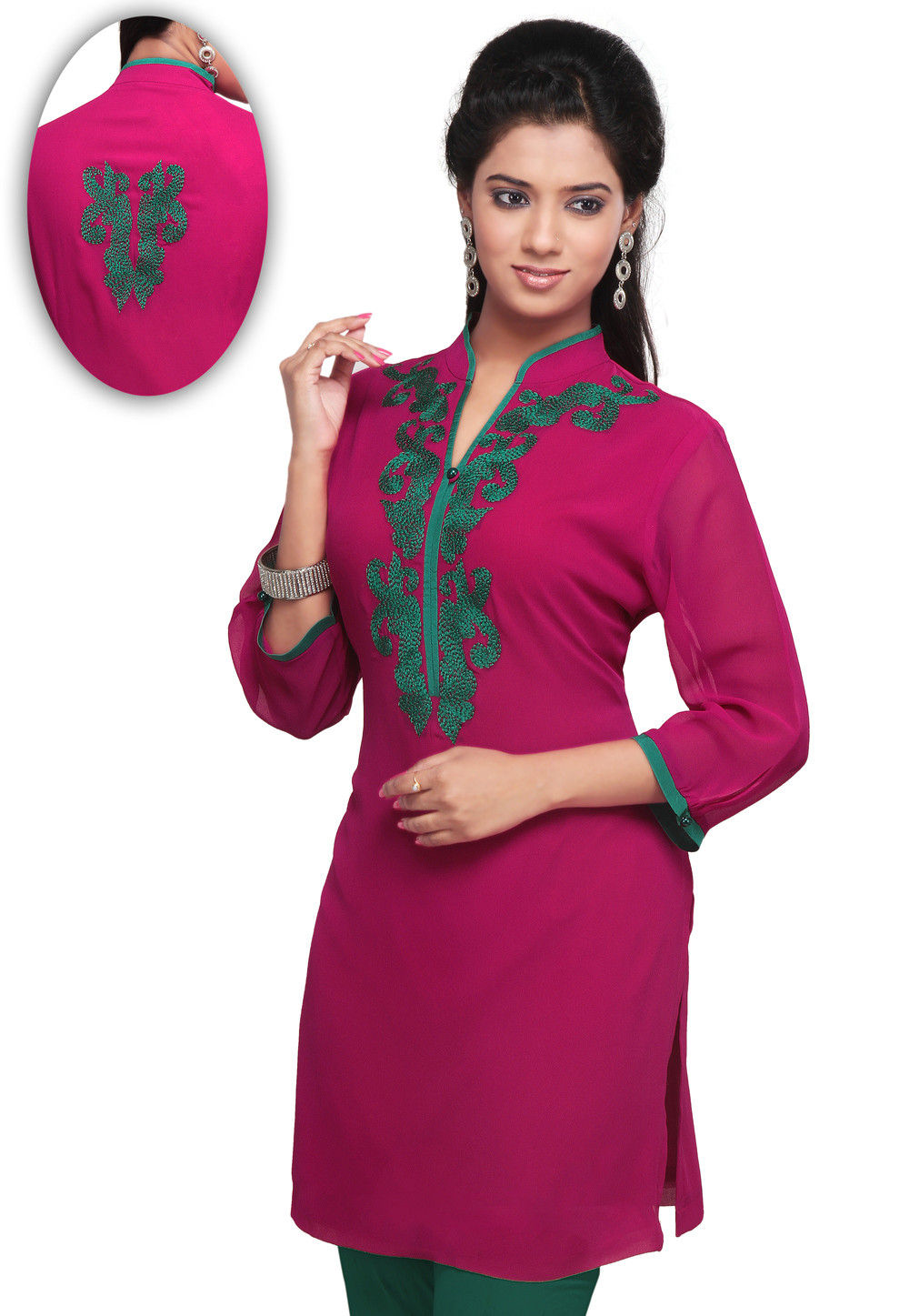Embroidered Georgette Kurti In Magenta