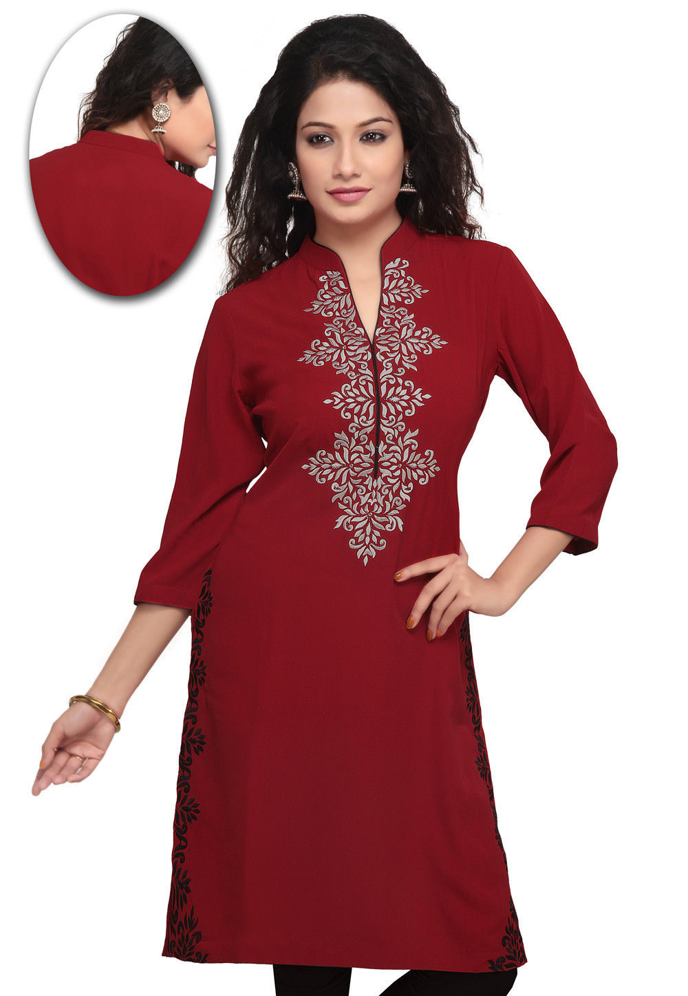 Embroidered Cotton Rayon Kurta in Red