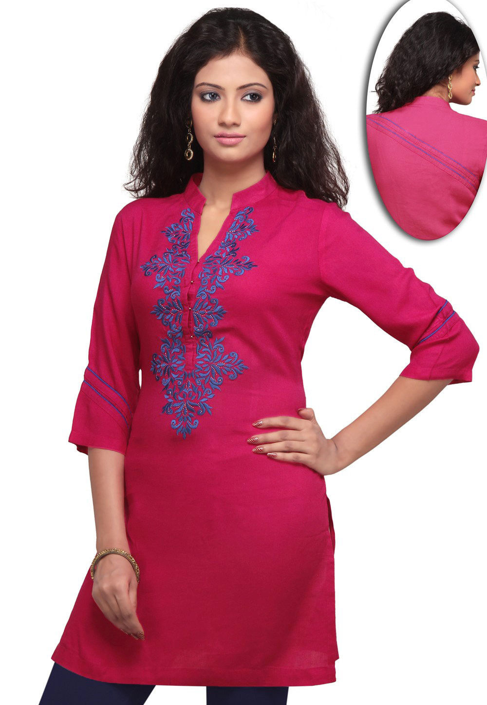 Embroidered Cotton Rayon Kurti In Magenta