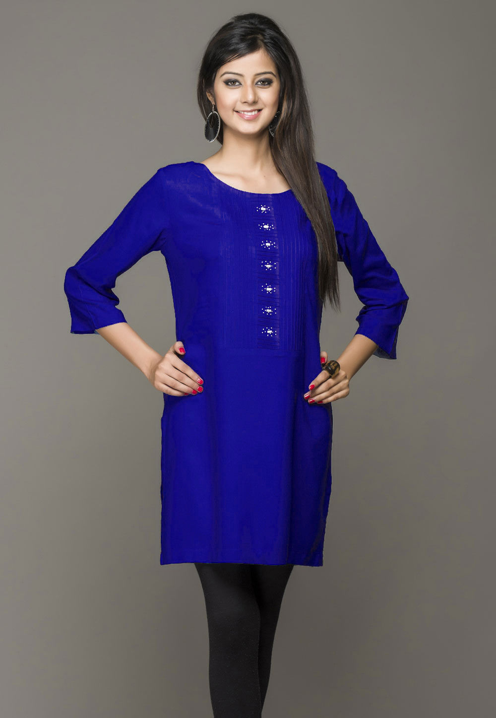Plain Cotton Rayon Kurti in Blue